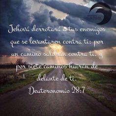 Deuteronomio 28:7 promesa de victoria y defensa de Dios para los que ponemos por obra todos sus mandamientos.