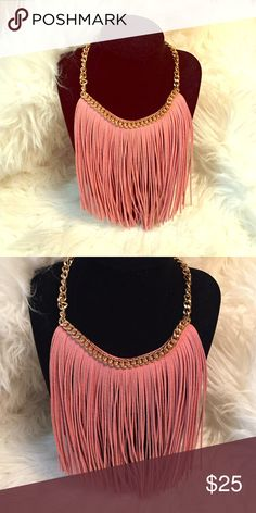 Flash Sale! Faux Suede Fringe Necklace! Mauve pink in color! Super Chic! Great accessory to add to collection. 🚫trades. Jewelry Necklaces