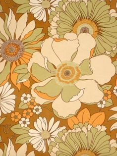 Vintage retro floral wallpaper with a bright green and grey flower pattern. Motif Vintage, Vintage Patterns, Retro Vintage, Vintage Wallpaper Patterns, Vintage Floral Backgrounds, Vintage Fabrics, Wallpaper For Sale, Retro Wallpaper, Dark Wallpaper
