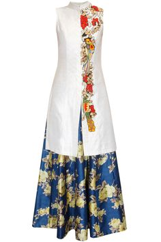 White embroidered achkan kurta with blue floral print skirt lehenga available…