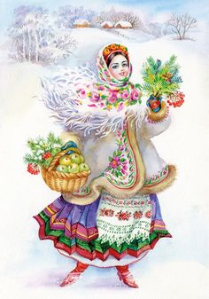Painting Collection: Easter Slavic Tradition Stock Illustration - Illustration of graphic, country: 27472378 Russian Folk, Russian Art, Ukrainian Christmas, Ukrainian Art, Christmas Illustration, Illustrations, Christmas Pictures, Belle Photo, Vintage Christmas