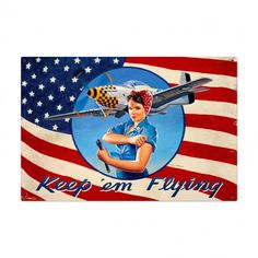 Rosie The Riveter Keep Em Flying Patriotic Pin Up Girl art on metal sign, vintage style home decor wall art, FREE Shipping by HomeDecorGarageArt on Etsy
