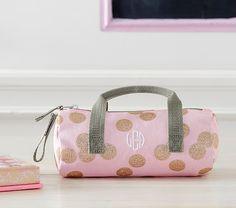 Mackenzie Pink Glitter Dot Pencil Case | Pottery Barn Kids
