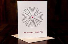 So Glad I Found You letterpressed card - single. $5.00, via Etsy.