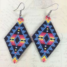Tribal Miyuki Bead Earrings,Brick Stitch Earrings,Beadwork Earrings,Beaded Earrings,Peyote Stitch Earrings,Tribal Earrings,Boho Earrings