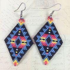 Tribal Miyuki Bead Earrings,Brick Stitch Earrings,Beadwork Earrings,Beaded Earrings,Peyote Stitch Earrings,Tribal Earrings,Boho Earrings
