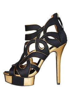 Black & gold cut-out suede heels for evening.