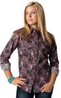 Wrangler Women's Black and Pink Charcoal Flower Print Long Sleeve Western Shirt