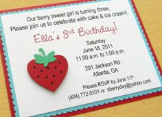 handmade STRAWBERRY birthday party invitation via Etsy.