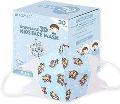 Amazon.com: Kids Face Mask (30 Pack) -3D Ergonomic & Tight Seal   Disposable Face Masks for Kids with Filters, Elastic String - Breathable & Comfortable Face Cover for Kids Ages 3-9 Yrs Old   Skin Care   Blue: Beauty