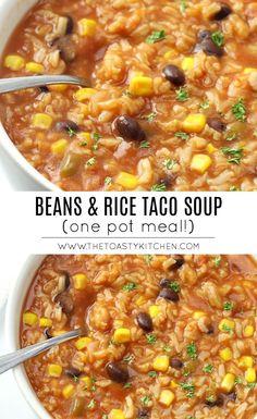 Mexican Food Recipes, Whole Food Recipes, Vegetarian Recipes, Cooking Recipes, Healthy Recipes, Vegetarian Rice Soup, Healthy Taco Soup, Vegan Bean Soup, Vegetarian Rice Recipes