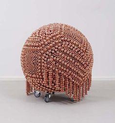 "Haegue Yang - Sculpture 115 | tatarartprojects.ca #tatarartprojects What a fun ""pouf"" or ottoman this would be w/pink pearls!!! What Is Contemporary Art, Modern Art, Fibre, Fiber Art, T Art, Soul Art, Community Art, Installation Art, Art Boards"