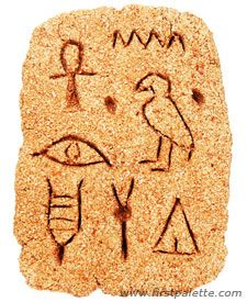 Use this hieroglyphic writing craft for your unit on ancient Egypt. Children will make their own stone tablet using self-hardening dough or clay and carve out hieroglyphs onto it. ■Sand dough, salt dough or self-hardening clay ■Plastic spoon, plastic knife or popsicle stick ■Clear acrylic sealer or decoupage medium (optional)