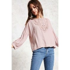 Forever21 Pintucked Crochet Top featuring polyvore, women's fashion, clothing, tops, mauve, cut out sleeve top, long length tops, scoop neck top, long tops and woven top