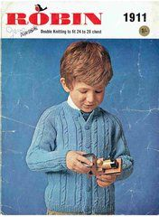 Robin 1911 childrens cable cardigan vintage knitting pattern