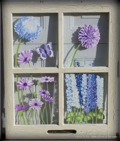 """""""Pastel Garden"""" Price, USD: $145.00 Status: Available Size (inches): 22 1/2w x 30 1/4h Media: Paint on Glass NOTE:"""