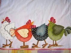 chickens for a fabric project Applique Patterns, Applique Quilts, Applique Designs, Chicken Crafts, Chicken Art, Tole Painting, Fabric Painting, Pintura Tole, Chicken Quilt