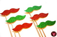Items similar to Ugly Christmas Sweater Party Props - Set of 6 - Red and Green Glitter Mustaches - Christmas Props - Photo Booth Props on Etsy Tacky Christmas Party, Funny Christmas Cards, Xmas Party, Christmas Photo Cards, Green Christmas, Christmas Humor, Holiday Fun, Christmas Time, Christmas Glitter