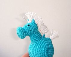 Horse blue  My little pony  Crochet animal  by MiracleFromThreads, $25.00
