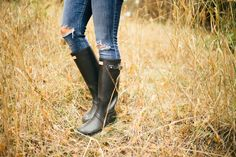 hunter boots in grass