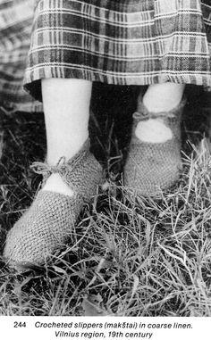 Lithuanian linen crochet shoes