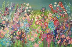 Flower painting. Colourful garden. Acrylic on canvas.