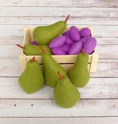 ONE Felt Pear Full-Sized Soft Fruit Farmers Market Waldorf Toy