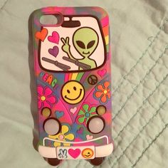 iPhone 5s case Cute iPhone 5s case from Claire's. It's part of the Katy Perry line they have in store. If you press the smiley face, the lights on the bus blink! Accessories Phone Cases