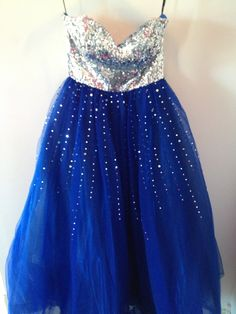 Royal blue ball gown with silver sequin top and skirt