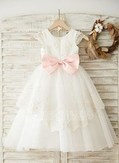 A-Line/Princess Scoop Neck Tea-length Sash Appliques Bow(s) Satin Tulle Short Sleeves Flower Girl Dress Flower Girl Dress