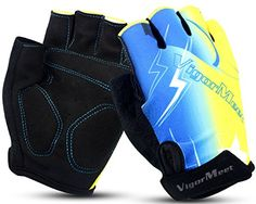 Vigormeet Summer Unisex Half Finger Microfiber Leather Breathable Cycling Gloves(Blue,Medium). Stretchable lycra for the top portion which is moisture-wicking in order to ensure the comfort during your cycling. Bright pattern improves the visibility. Color is printed by sublimation printing, never worry about the color fading. Gloves' palm part is made of durable and skid proof microfiber leather. Three separate areas of SBR cushions reinforce the shock absorption performance and also…