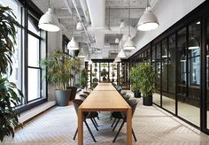 Office Tour: Digital Media Company Headquarters – New York City Office plants decorate conference room – at Digital Media Company Corporate Office Design, Workplace Design, Office Interior Design, Office Interiors, Office Designs, Corporate Interiors, Design Interiors, Digital Media Companies, City Office