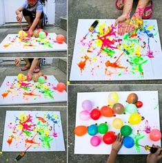 Hello, wonderful - balloon splatter painting with tools: fun outdoor art project for kids Kids Crafts, Summer Crafts, Arts And Crafts, Kids Diy, Easy Toddler Crafts, Easter Crafts, Decor Crafts, Holiday Crafts, Kunst Party