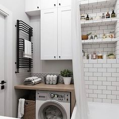 20 Brilliant Laundry Room Ideas for Small Spaces - Practical & Efficient Breathtaking small laundry/utility room ideas // small bathroom laundry room combo ideas Laundry Room Bathroom, Laundry Room Design, Small Bathroom, Bathroom Ideas, Modern Bathroom, Laundry Rooms, Bath Room, White Bathroom, Bathroom Designs