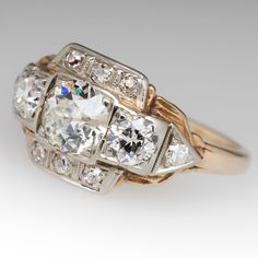 Antique Old Euro Diamond Engagement Ring 14K Yellow Gold 1940's