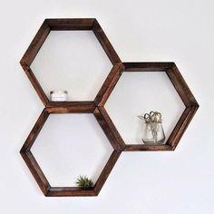 The Hexagonal Shelf, Honeycomb Shelf, home decor, interior design #etsy #ad