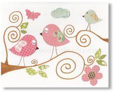 Nursery art print, nursery decor, baby nursery print, kids art, kids room decor, nursery wall art, Bird, Beautiful Day 8x10 print from Paris. $14.00, via Etsy.