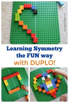 way to learn symmetry with Duplo Learn symmetry for kids using Duplo - hands on way to learn Math. By Happy Tot ShelfLearn symmetry for kids using Duplo - hands on way to learn Math. By Happy Tot Shelf Symmetry Activities, Stem Activities, Toddler Activities, Learning Activities, Kids Learning, Educational Activities, Legos, Lego Lego, Lego Batman