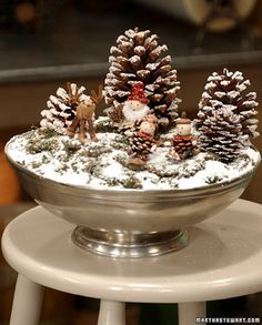 Pinecone and ornaments centerpiece. Love!!