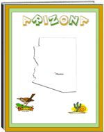 Thematic Unit - Arizona - Each state thematic unit is 13 pages. They offer information about the following: history, Capital, flag, tree, bird, flower, size, location, climate, topography, industry, natural resources, waterways  The following pages are also included: questions, word unscramble, spelling, state map, add your own information, answers