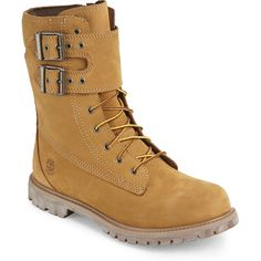 """Timberland Wheat Double Strap 6"""" Boots ($110) ❤ liked on Polyvore featuring shoes, boots, beige, round toe boots, laced boots, laced up boots, faux-fur boots and nubuck boots"""