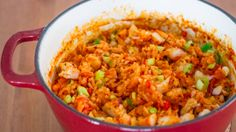 Chicken and Shrimp Jambalaya. I suggest cooking the shrimp in Granny's Bacon Drippings instead of Olive Oil, but the rest of the recipe looks awesome!