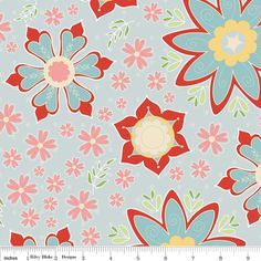 Sale   Delighted Fabric Blue Large Floral with by 44thStreetFabric, $7.50
