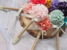 Wedding Guest Book Pen - Rustic Wedding Pen - Fabric Peony Flower Pen