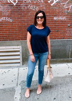 My Daily Looks {July Edition} Navy Blouse, Next Clothes, Blank Nyc, Black Bra, Cropped Skinny Jeans, Rag And Bone, Daily Look, Striped Tee, Floral Maxi Dress
