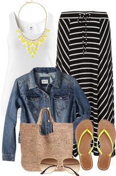 A fashion look from March 2013 featuring womens plus tops, plus size jean jacket and tie front skirt. Browse and shop related looks. Curvy Fashion, Plus Size Fashion, Love Fashion, Girl Fashion, Fashion Outfits, Womens Fashion, Xl Mode, Mode Plus, Spring Summer Fashion
