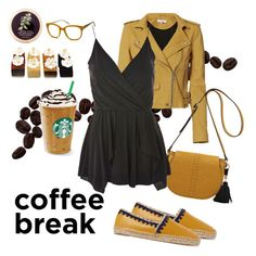 """Coffee Break: a Yellow and Black Attack!"" by jlvicker ❤ liked on Polyvore featuring Tory Burch, IRO, Topshop, Java and Moschino"