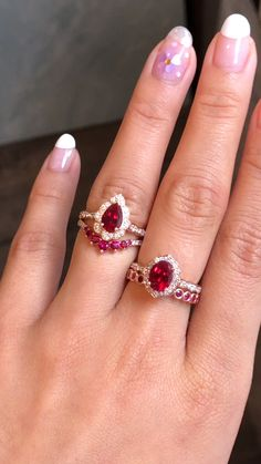 July Birthstone Rings Ruby Ring Rose Gold by La More Design Jewelry – ruby jewelry Heart Shaped Diamond Ring, Diamond Stacking Rings, Gold Diamond Rings, Gold Bands, Emerald Rings, Diamond Pendant, Black Diamond Engagement, Gold Engagement Rings, Engagement Ring Settings
