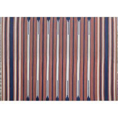 Ethnic Handwoven Terracotta Blue Rug