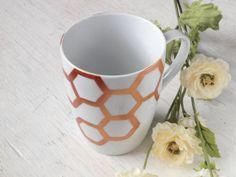Gold Honeycomb Porcelain Mug // honey bee motif // by leftofrose